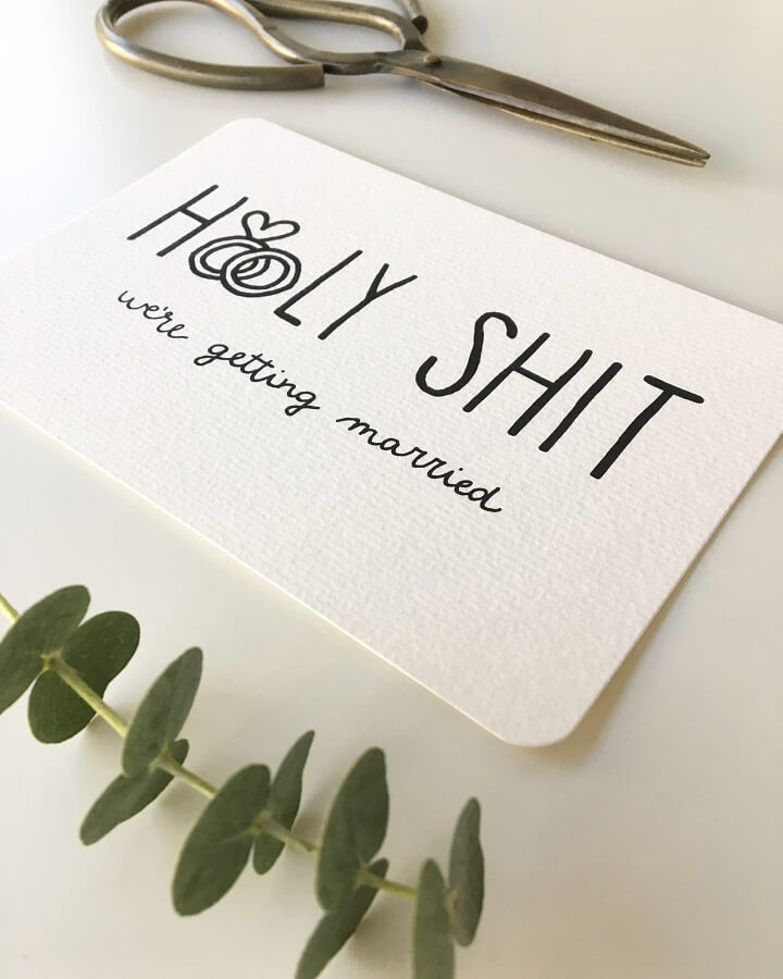 Holy Shit - trouwkaart wedding invitation