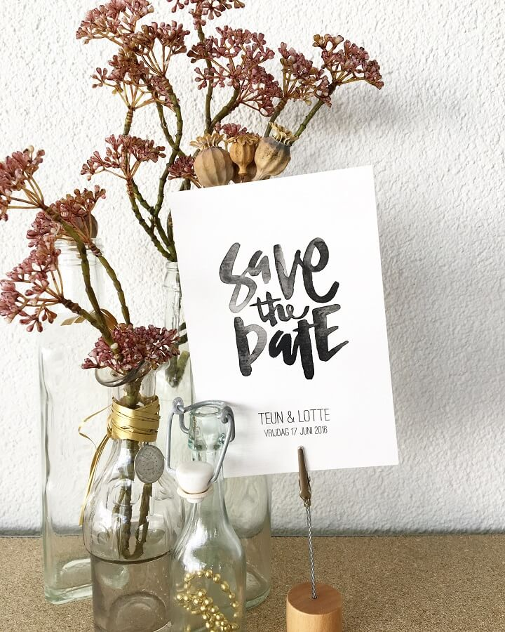 Kalligrafie Save the Date kaart